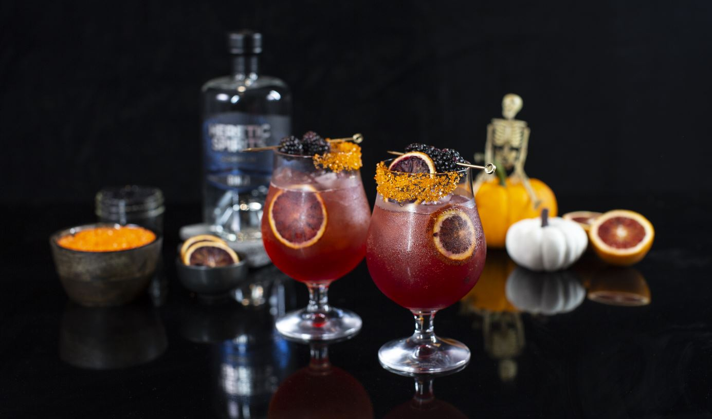 Serve and enjoy a halloween coctail